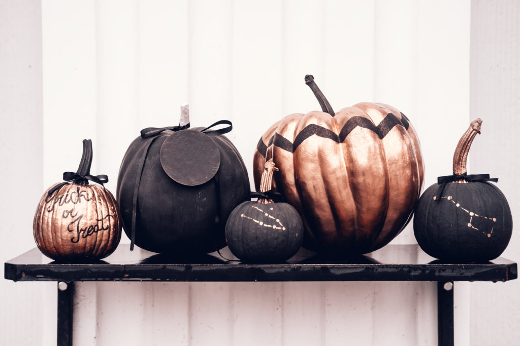 Black and rose cold colored pumpkins against white wall.