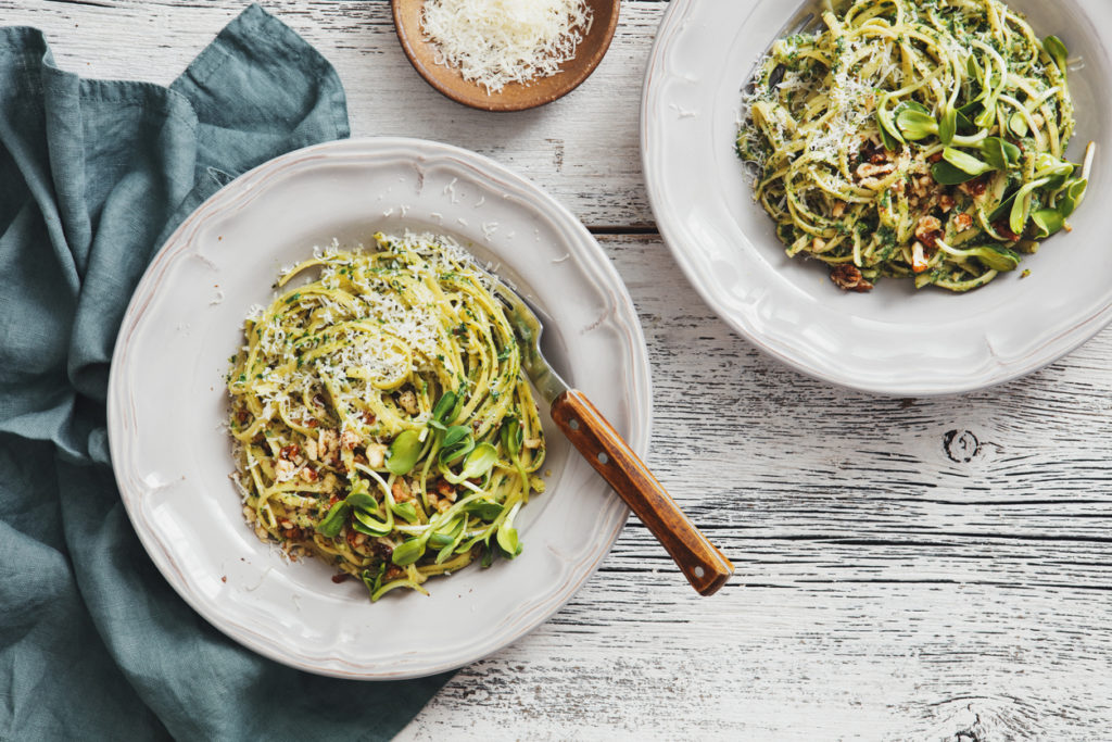 Pesto vegetable pasta ready to be served