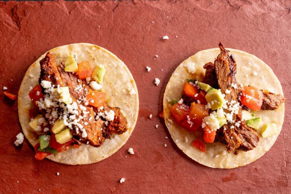 Beef Carne Asada Mexican Style Street Food Tacos