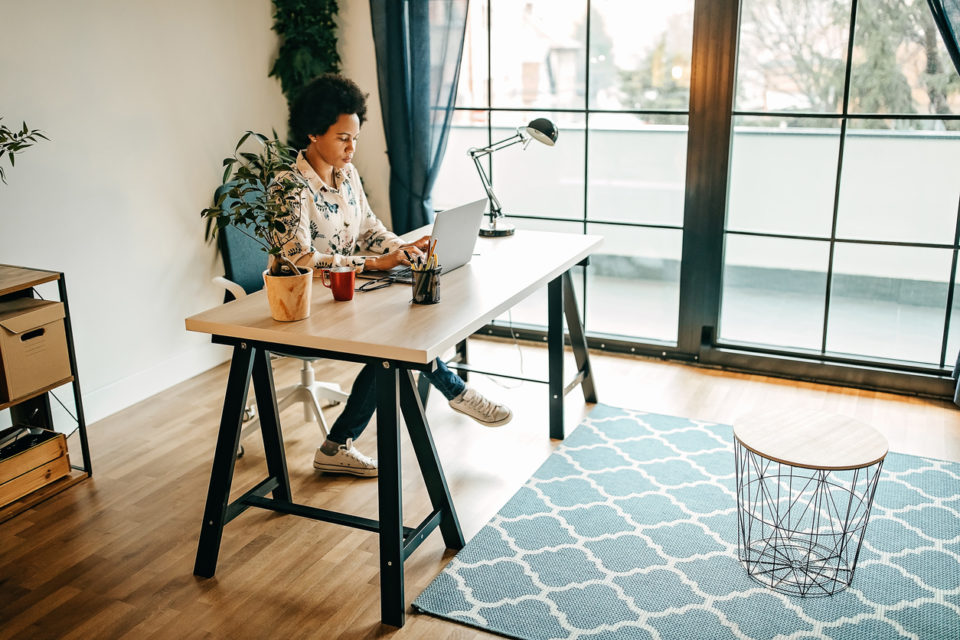 Young business woman working from home office.