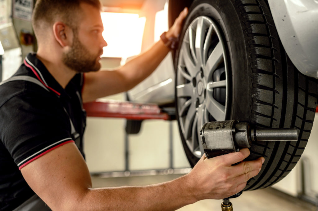 Tire changing at car service