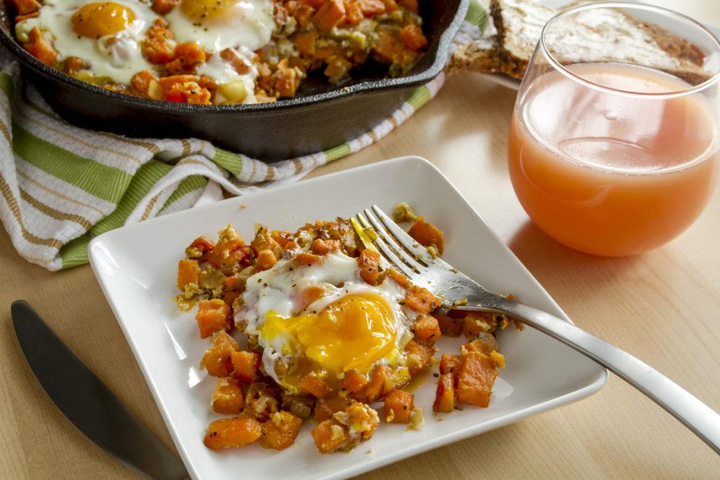 Fried Eggs and Sweet Potato Hash