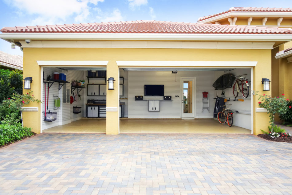 Three car garage attached to a home