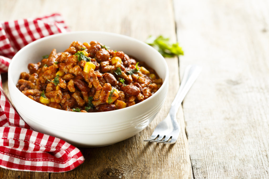 Chili meat stew with beans and corn