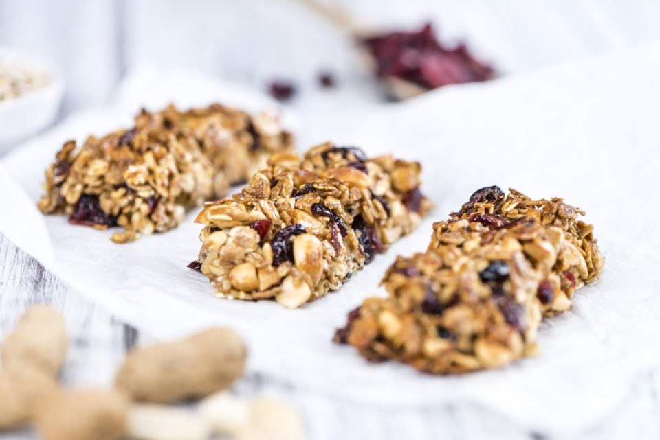 Homemade Granola Bars with Peanuts and Cranberries
