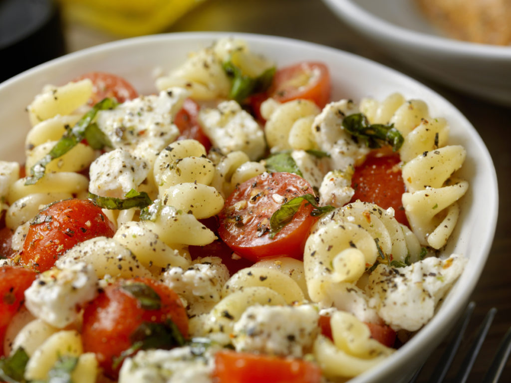 Tomato and Feta, Pasta Salad with Freshly Chopped Basil and Goat Cheese
