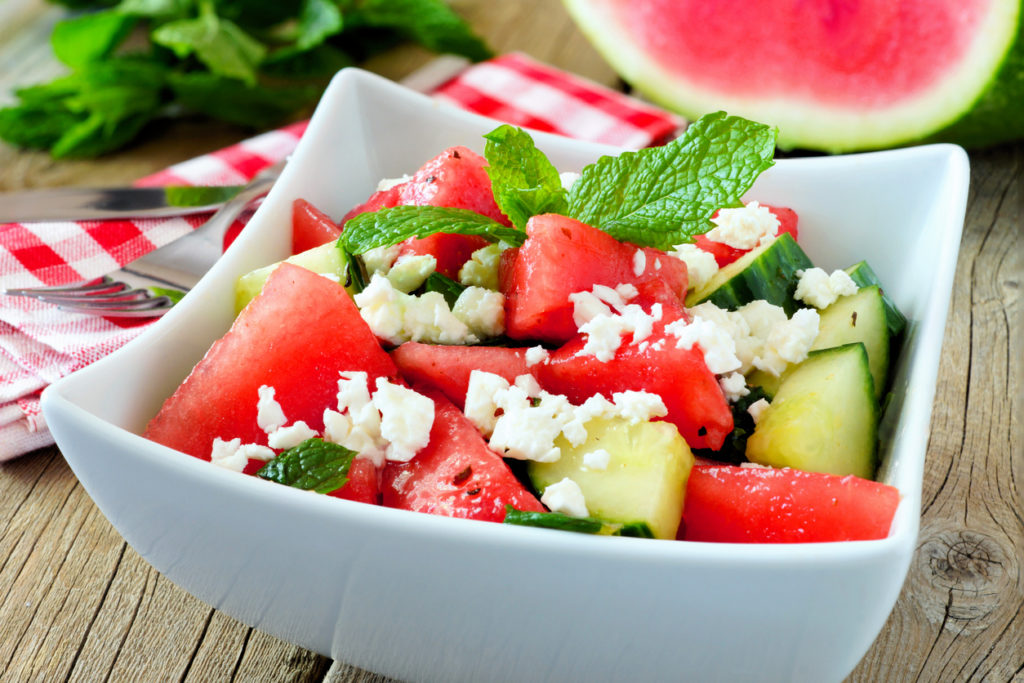 Watermelon, cucumber and feta cheese salad, close up